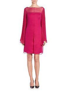 Randi Rahm Annabelle Chiffon Cocktail Dress - Raspberry - Size 8