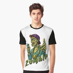 'Zombie' Graphic T-Shirt by Vivid Colors, Female Models, Funny Tshirts, How To Make, How To Wear, Printed, Awesome, Sleeves, Mens Tops