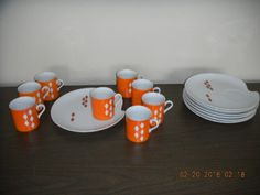 8 Mid Century ATOMIC Snack Plate and Cup Sets Mario Originals for Contempo China