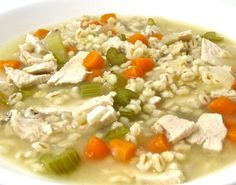 Sensational, Skinny Turkey Barley Soup. This NEW soup is perfect to make with turkey leftovers. Soooo yummy! It makes a big pot and freezes great. A big 2 cup main course serving has 246 calories, 2 grams of fat, 8 grams of fiber and 6 Weight Watchers POINTS PLUS. http://www.skinnykitchen.com/recipes/sensational-skinny-turkey-barley-soup/