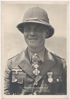 Rommel wearing Pith helmet and with Italian awarded medals.
