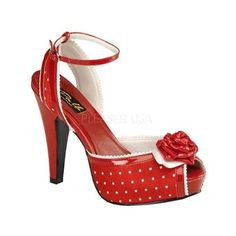 Women's Pin Up Bettie 06 Red Polka Dot Satin ($62) ❤ liked on Polyvore featuring shoes, red, red dot shoes, red high heel shoes, red pin up shoes, red shoes and pinup couture