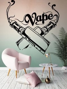 Vape Store Design, Vape Design, Bong Shop, Vape Shop, Vinyl Wall Decals, Wall Stickers, Hookah Lounge Decor, Vape Logo, Lounge Design