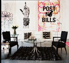 Um, can you say #RockerGlam Chic! love this space! Perfected collaboration of elements and themes!