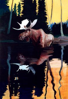 Bull Moose Painting by Robert Wesley Amick - Bull Moose Fine Art Prints and Posters for Sale Moose Pictures, Pictures To Paint, Moose Nursery, Sleeping Beauty Art, Bull Moose, Ink In Water, Fauna, Outdoor Art, Wildlife Art