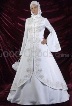 A-line Court Train Satin Beading , Applique Muslim Wedding Dress