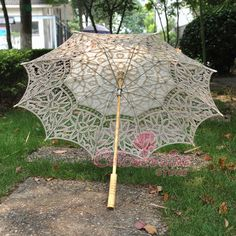 New Ivory Battenburg Lace Pure Cotton Embroidery Wedding Umbrella Bridal Parasol #ParasolUmbrella