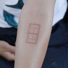 Minimalist tennis court tattoo on the inner forearm. Inner Forearm Tattoo, Forearm Tattoos, Sleeve Tattoos, Line Art Tattoos, Tatoos, Korea Tattoo, Simple Line Tattoo, Clover Tattoos, Cool Tats