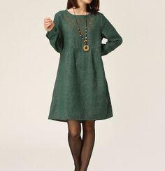 Green cotton dress long sleeve dress maxi by originalstyleshop, $65.00