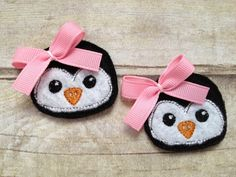 Penguin Clips available with pink or red bows!  2 clips for only 6.00!