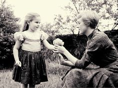 Kym Karath, who played Gretl, and Julie Andrews during the filming of The Sound of Music in 1965