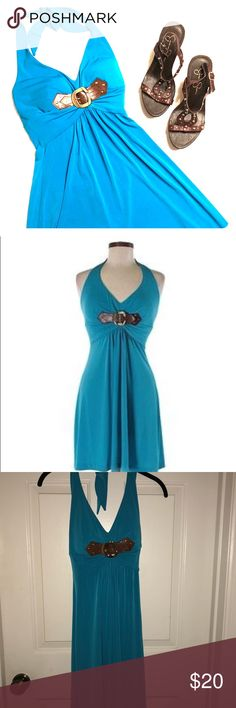 Cache Small Teal Halter Dress with Buckle Excellent condition.  Cache Small Halter Dress in Teal Blue with Brown/Gold Buckle. Very stretchy. Cache Dresses