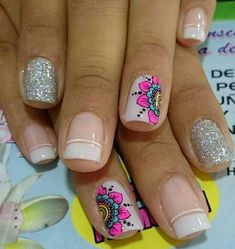 @mahrovych #unasdecoradas Nail Polish Designs, Nail Art Designs, Cute Nail Art, Super Nails, Beautiful Nail Designs, Flower Nails, Trendy Nails, Manicure And Pedicure, Toe Nails