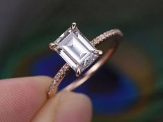 Carat emerald cut Moissanite and Diamond Engagement Ring in Rose Gold – wedding Luxury Engagement Rings, Wedding Rings Solitaire, Wedding Rings Rose Gold, Engagement Ring Cuts, Rose Gold Engagement Ring, Bridal Rings, Vintage Engagement Rings, Solitaire Engagement, Wedding Engagement