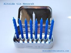 Nine hexnuts glued inside an empty Altoids tin = Travel Menorah. Or, a Curiously Tiny Menorah. You can't get much easier. Or smaller for that matter. (EDIT: see smaller one here. Hanukkah Crafts, Jewish Crafts, Feliz Hanukkah, Hanukkah Decorations, Hanukkah Menorah, Happy Hanukkah, Hannukah, Holiday Crafts, Holiday Fun