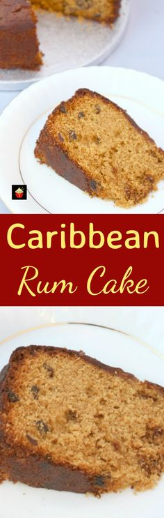 Caribbean Rum Cake. This is a super easy recipe and perfect with a cup of tea to celebrate the holidays! The cake is soft and moist, packed with rum infused raisins and makes for a great Christmas time cake.   Lovefoodies.com