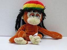 "Rasta Monkey Stoned Ideal Toys Dreadlocks Hat plush 12"" Reggae Jamaica"