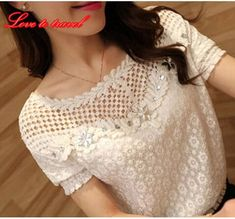 Blusas Femininas Spring Women Long Sleeve Fashion Lace Floral Patchwork Blouse Shirts Hollow Out Casual Tops Plus Size Tops Bordados, Women's Summer Fashion, Fashion 2015, Fashion Women, Lace Tops, Blouses For Women, Women's Blouses, Chiffon Blouses, Fashion Blouses