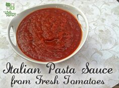 Italian Pasta Sauce from Fresh Tomatoes recipe Homemade Pasta Sauce, tip add a piece of carrot in the sauce while it is cooking. It will absorb the acid and make it a sweeter sauce.