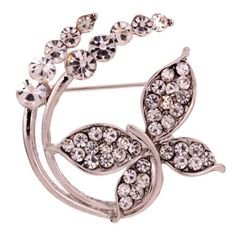 Vintage-Silver-Flower-Leaf-Plant-Shape-Carve-Full-Shining-Crystal-Brooch-Jewelry