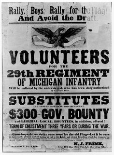 Civil War : 29th Michigan Infantry recruitment broadside; 1864.