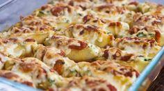 Ракушки, фаршированные шпинатом и сыром