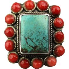 Vintage Sterling Silver Turquoise Red Coral Ring Southwest Beauty found at…