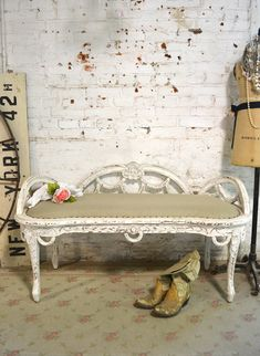 Painted Cottage Chic Shabby French Upholstered Bench [CHR106] - $425.00 : The Painted Cottage, Vintage Painted Furniture
