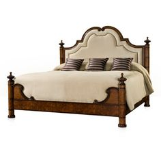 An century style antique bed of chestnut burl and flame mahogany, with a shaped arched headboard with a concave moulded frame. King Size Headboard, Headboard And Footboard, Luxury Furniture, Bedroom Furniture, Solid Wood Platform Bed, Upholstered Beds, Panel Bed, Bedroom Bed, Bed Sizes