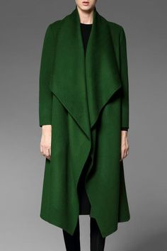 Shop pokwai green asymmetrical coat with pockets here, find your coats at dezzal, huge selection and best quality. Botanical Fashion, Asymmetrical Coat, Mein Style, Green Coat, Jacket Style, Wool Coat, Grey Sweater, Capsule Wardrobe, Casual Chic