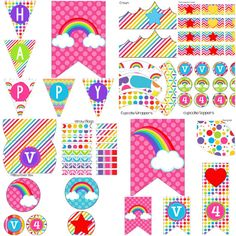 rainbow colorful bright girl girls birthday party pack package decorations digital print printable diy clouds my little pony Everything you need for a Rainbow party is right here! Save some money with DIY printables!  Includes: -Happy Birthday Banner -8 Styles of