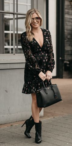 #fall #outfits black and brown floral deep v-neck long-sleeved midi dress. Click To Shop This Look.