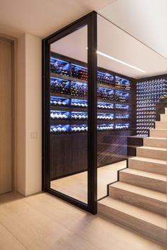 Wine Cellar Modern, Glass Wine Cellar, Home Wine Cellars, Wine Cellar Design, Under Stairs Wine Cellar, Wine Cellar Basement, Cave A Vin Design, Wine Wall, Wine Storage