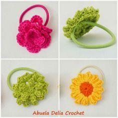 Abuela Delia Crochet: Gomitas para el cabello con Flores en Crochet