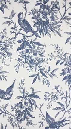 Chelsea Morning Toile Wallpaper A toile wallpaper featuring birds amongst flowering branches in blue on white.