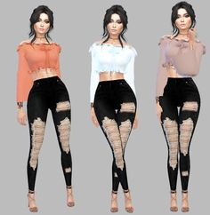 The Sims 4 Mody: Off Shoulder Ruffle top od Simply-Simming