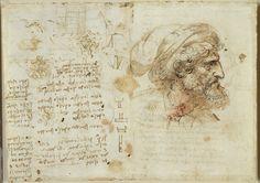 Manuscript with a man's head, by Leonardo da Vinci Artist Journal, Artist Sketchbook, Sketchbook Ideas, Leonardo Da Vinci Renaissance, Anatomy Reference, Daily Drawing, Medical Anatomy, Military Art, Michelangelo