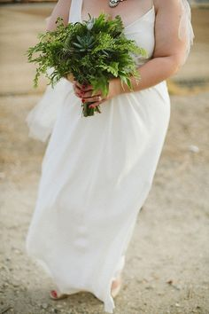 all green bouquet - ferns and succulents