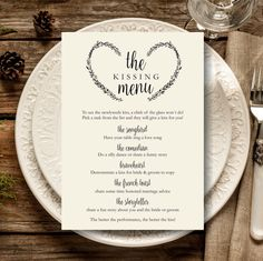 Have some fun on your wedding day with a kissing menu. By this way you will have your guests interact and have fun too.