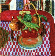 """""""The Checkered Tablecloth"""" -- 1939 -- Pierre Bonnard -- French -- Oil on canvas -- Art Institute of Chicago"""
