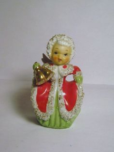 Vintage Napco Christmas Angel Girl Lady Bell Porcelain Figurine Spaghetti Trim Japan.
