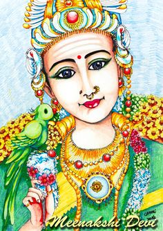 Meenakshi (IAST mīnākṣī, often written Meenakshi in English, Tamil மீனாட்சி) is an Avatar of the Hindu Goddess Parvati - and consort of Shiva - who is worshipped mainly by South Indians. She is also one of the few Hindu female deities to have a major temple devoted to her - the far famed Meenakshi Amman Temple in Madurai, Tamil Nadu. The picture on the right shows her Deity at the temple. She is considered as a form of Goddess Mathangi, one of the Dasa Maha Vidhyas.