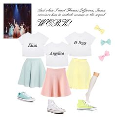 Schuyler Sisters Costume... WORK! by bumbeedum on Polyvore featuring WithChic, Sonia by Sonia Rykiel, White Mark, Hue and Converse