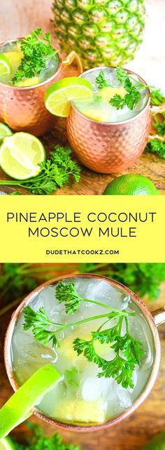 The natural flavors you get by mixing the fresh pineapple chunks and fresh cilantro really turns this Pineapple Coconut Moscow Mule into a refreshing anytime treat. via drinks Pineapple Coconut Moscow Mule Summer Cocktails, Cocktail Drinks, Fun Drinks, Yummy Drinks, Cocktail Recipes, Beverages, Beste Cocktails, Mule Recipe, Alcohol Drink Recipes