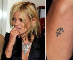 See 100+ Memorable Celebrity Tattoos: Kate Moss has a small anchor tattooed on the outside of her right wrist.