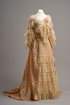 19th century TEA GOWN | Dress, late 19th century. Silk satin and lace.
