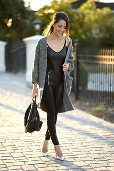 Daytime Cozy with an Edge  [[MORE]]  GUESS Bodysuit + Cardigan, Rebecca Minkoff Bag, ShoeDazzle Heels, Gabriel and Co Necklace + Ring  Fashion by Hapa Time