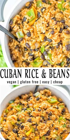 Make this simple and quick Cuban Rice and Beans today. Full of delicious spices, done in one pot, and always exciting to customize to your taste. A natural vegan and gluten free lunch or dinner. Perfect as a work or school lunch meal prep. Veggie Recipes, Lunch Recipes, Soup Recipes, Whole Food Recipes, Vegetarian Recipes, Healthy Recipes, Vegan Bean Recipes, Veggie Meals, Dairy Free Diet