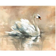 swan Canvas Painting Ideas | Chinese Painting by Lou Dahua P08023. Chinese art painting of peony fl ...