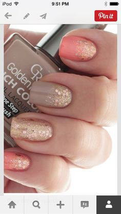 Live the grey pink and gold glitter nails